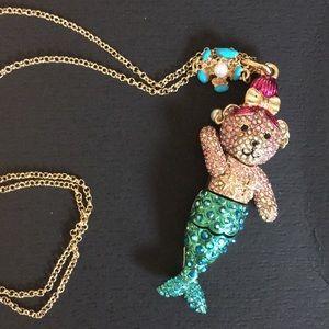 Betsy Johnson teddy bear mermaid long necklace